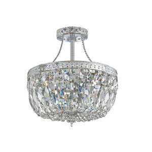 Traditional Polished Chrome Three-Light Swarovski Spectra Semi Flush Crystal Basket