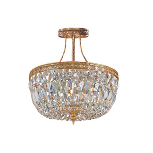 Richmond Olde Brass Three-Light Semi-Flush Mount with Swarovski Spectra Crystals