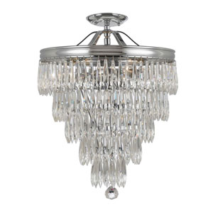 Chloe Polished Chrome Three Light Twelve-Inch Flush Mount with Clear Hand Cut Crystal