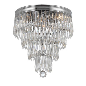 Chloe Polished Chrome Three Light Ten Inch Flush Mount with Clear Hand Cut Crystal