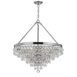 Calypso Polished Chrome Six-Light Pendant with Clear Smooth Glass Balls