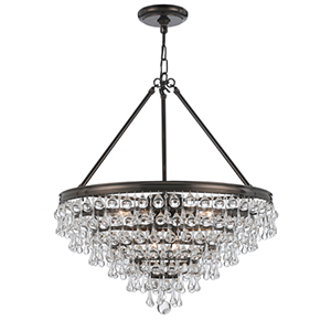 Calypso Vibrant Bronze Eight Light Chandelier with Teardrop Crystal