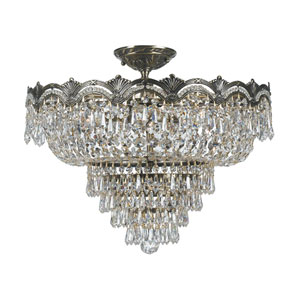 Majestic Sold Cast Brass Ornate Crystal Five-Light Semi-Flush