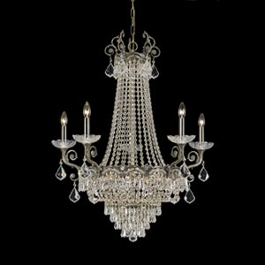 Majestic Sold Cast Brass Ornate Crystal Five-Light Chandelier