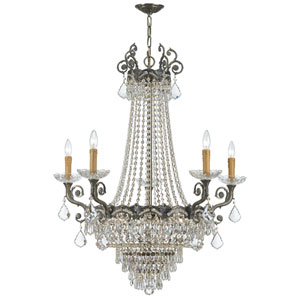 Majestic Historic Brass Thirteen-Light Crystal Chandelier
