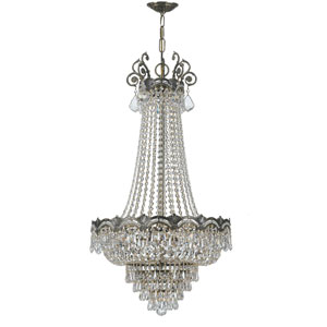 Majestic Sold Cast Brass Ornate Crystal Eight-Light Chandelier