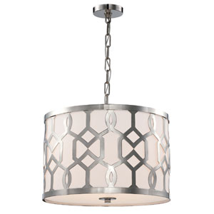Jennings Polished Nickel 18-Inch Wide Three-Light Pendant by Libby Langdon