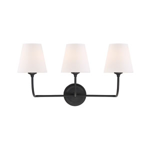 Sylvan Three-Light Black Forged Bath Light