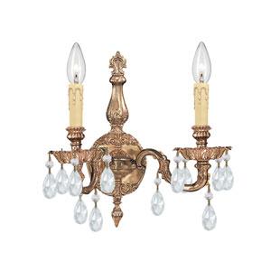 Cortland Ornate Cast Brass Sconce with Swarovski Strass Crystal