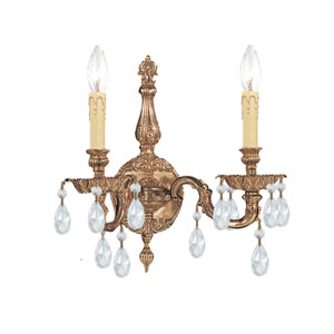 Cortland Ornate Cast Brass Sconce with Swarovski Spectra Crystal