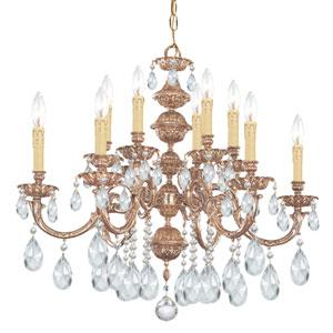 Oxford Ornate Cast Brass Six-Light Chandelier with Swarovski Spectra Crystal