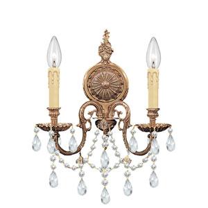 Novella Ornate Cast Brass Two-Light Sconce with Swarovski Spectra Crystal