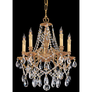 Novella Olde Brass Five-Light Crystal Chandelier