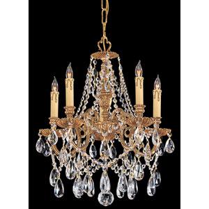 Novella Ornate Cast Brass Five-Light Chandelier with Swarovski Spectra Crystal