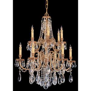 Novella Ornate Cast Brass Twelve-Light Chandelier with Swarovski Spectra Crystal
