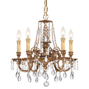 Novella Olde Brass Five Light Chandelier with Clear Hand Cut Crystal