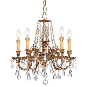 Novella Olde Brass Five Light Chandelier with Clear Spectra Crystal