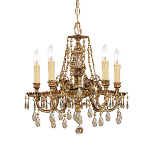 Novella Golden Teak Crystal Five-Light Chandelier