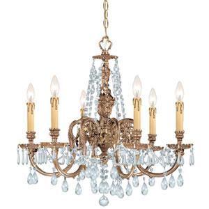 Novella Olde Brass Six-Light Ornate Cast Brass Chandelier with Clear Hand Cut Crystal