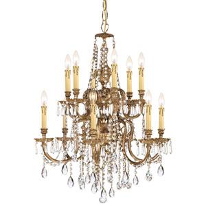 Novella Olde Brass Twelve Light Chandelier with Clear Swarovski Strass Crystal