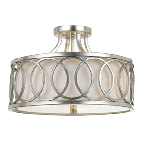 Graham Antique Silver 15-Inch Three-Light Semi Flush Mount by Libby Langdon