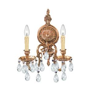 Novella Ornate Cast Brass Two-Light Sconce with Swarovski Strass Crystal