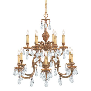 Novella Olde Brass Twelve-Light Crystal Chandelier