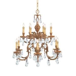 Novella Ornate Cast Brass Six-Light Chandelier with Swarovski Spectra Crystal