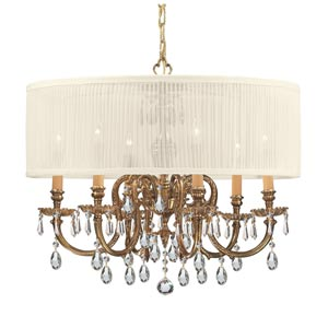 Brentwood Olde Brass Six-Light Crystal Pendant