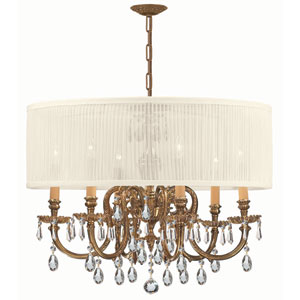Brentwood Ornate Cast Brass Chandelier with Swarovski Strass Crystal and Antique White Shade