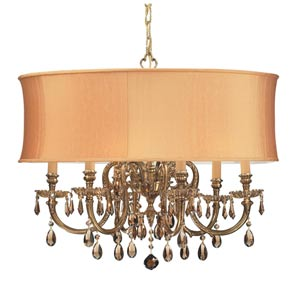 Brentwood Ornate Cast Brass Chandelier with Golden Teak Majestic Wood Polished Crystal and Harvest Gold Shade