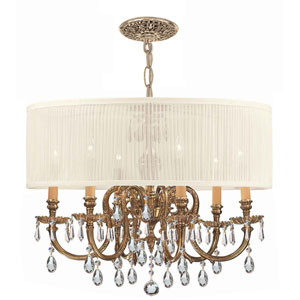Brentwood Ornate Cast Brass Chandelier with Swarovski Spectra Crystal and Antique White Shade