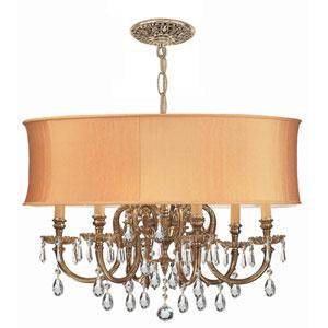 Novella Olde Brass Six-Light Ornate Cast Brass Pendant with Swarovski Spectra Crystal
