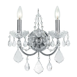 Imperial Wrought Iron Crystal Polished Chrome Sconce with Swarovski Strass Crystal