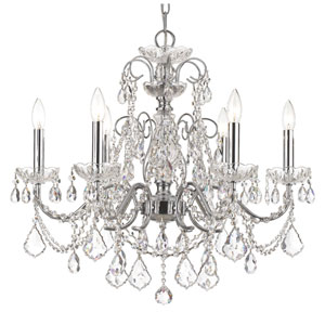 Imperial Polished Chrome Clear Majestic Crystal Six-Light Chandelier
