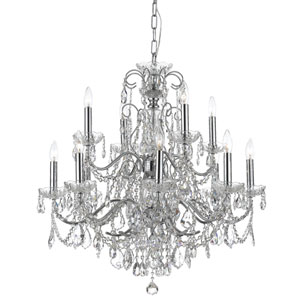 Imperial Wrought Iron Crystal 12 Light Chandelier with Swarovski Spectra Crystal