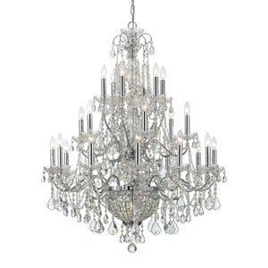 Imperial Polished Chrome Clear Majestic Crystal Twenty-Six Light Chandelier