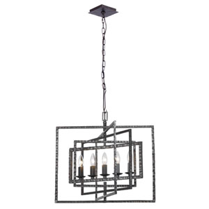 Capri Raw Steel Five-Light Chandelier