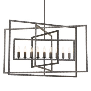 Capri Nine-Light Raw Steel Chandelier