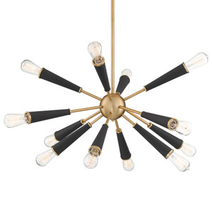 Zodiac Twelve-Light Aged Brass Chandelier