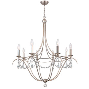 Antique Silver Eight Light Chandelier with Clear Spectra Crystal
