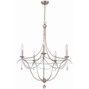 Metro II Five-Light Antique Sliver Chandelier