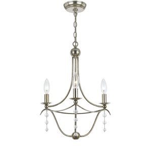Metro Antique Silver Three-Light Chandelier with Clear Beads