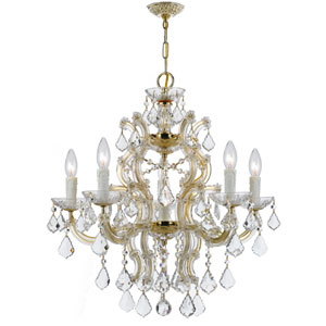 Maria Theresa Gold 24.5-Inch Six Light Hand Cut Crystal Chandelier