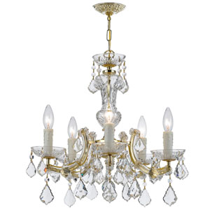 Maria Theresa Gold 19-Inch Five Light Hand Cut Crystal Mini-Chandelier