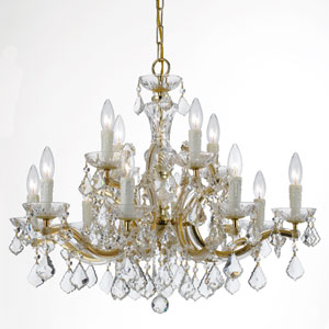 Maria Theresa Gold 12-Light Chandeliers