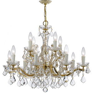 Maria Theresa Gold 26.5-Inch 12-Light Chandelier with Hand Cut Clear Crystal