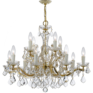 Maria Theresa Gold 30-Inch 12-Light Chandelier with Hand Cut Clear Crystal
