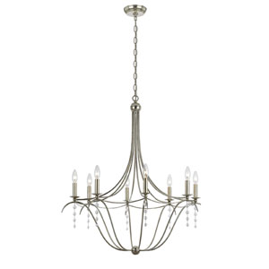 Metro Antique Silver Eight-Light Chandelier with Clear Beads