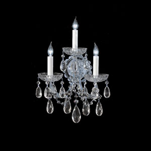 Maria Theresa Polished Chrome Three-Light Chandelier with Hand Cut Crystal